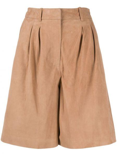 Плиссированные коричневые шорты на молнии S.w.o.r.d 6.6.44