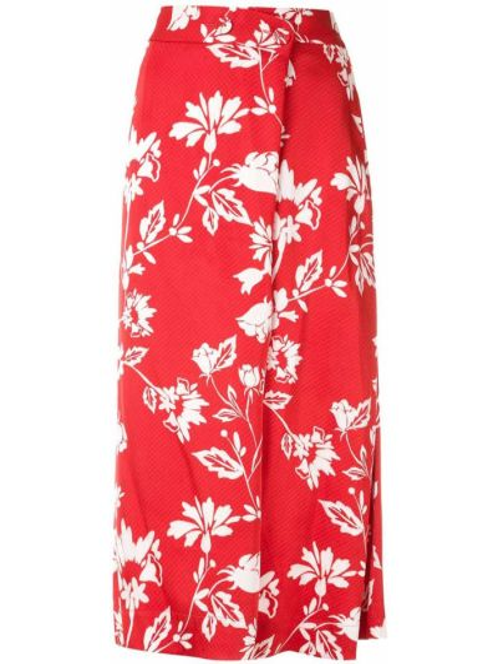Красная прямая юбка миди с поясом из вискозы Reinaldo Lourenço