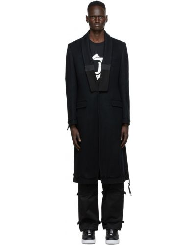 Czarny długi płaszcz wełniany z długimi rękawami Undercover