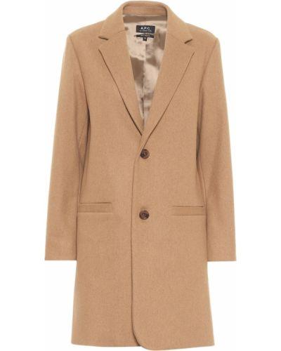Шерстяное бежевое пальто A.p.c.