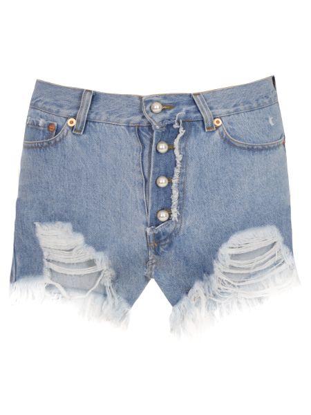 Хлопковые джинсовые шорты со стразами с карманами Forte Couture
