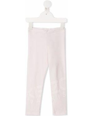 Różowe legginsy z wysokim stanem bawełniane Kenzo Kids