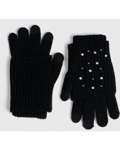 Вязаные черные перчатки со стразами Ostin