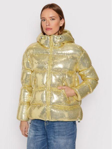 Złota kurtka puchowa Pinko