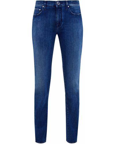 Хлопковые синие джинсы с нашивками эластичные Jacob Cohen
