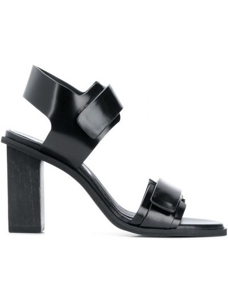 С ремешком кожаные черные босоножки на каблуке Christian Wijnants