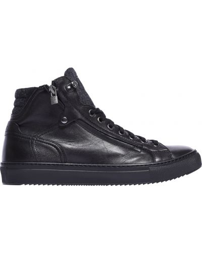Черные кожаные кеды Fabi