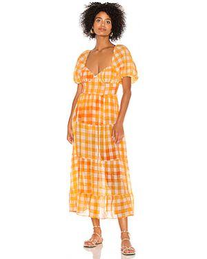 Платье миди на пуговицах через плечо For Love & Lemons