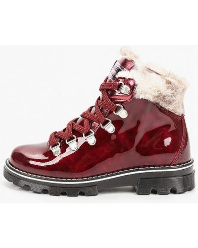 Красные кожаные лаковые ботинки Pablosky