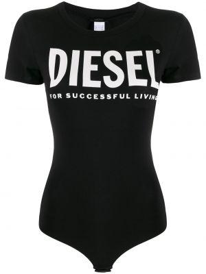 Черное боди на кнопках с короткими рукавами Diesel