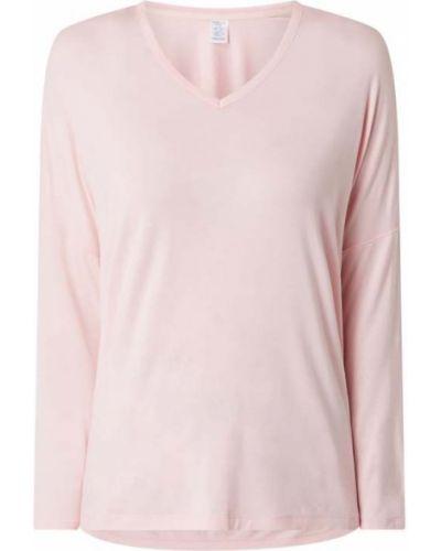 Różowa piżama z długimi rękawami z dekoltem w serek Calvin Klein Underwear