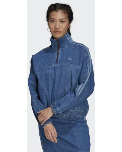 Джинсовая укороченная синяя олимпийка Adidas