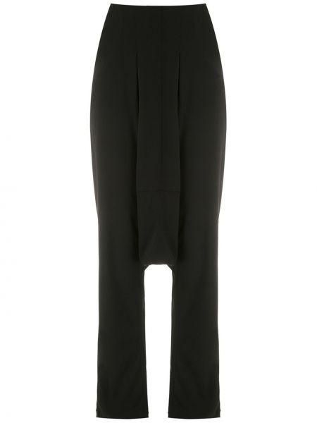 Spodnie z wysokim stanem czarne z kieszeniami Uma | Raquel Davidowicz