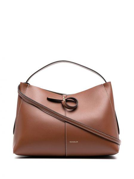 Z paskiem skórzany brązowy torba kosmetyczna Wandler