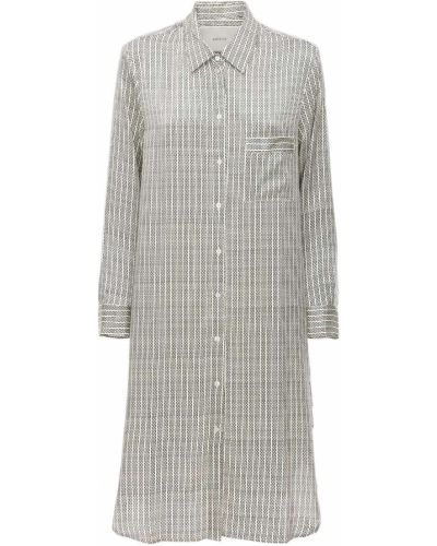 Satynowa koszula nocna z długimi rękawami z printem Asceno
