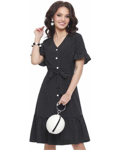 Приталенное платье с поясом с оборками Dstrend