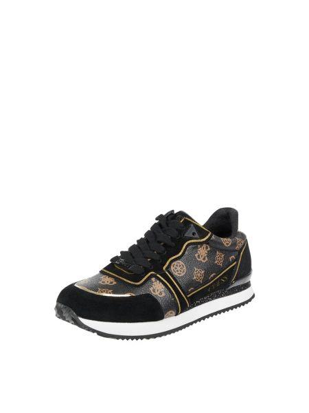 Skórzany czarny sneakersy z logo zasznurować Guess