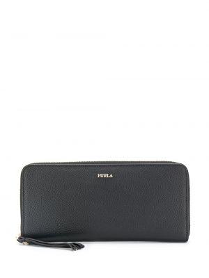 Кожаный кошелек черный золотой Furla