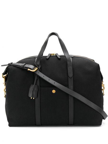 Кожаная черная дорожная сумка на молнии со шлейфом Mismo