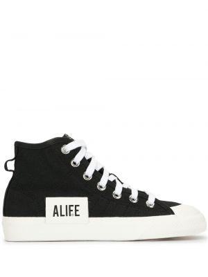 Кожаные черные высокие кеды на шнуровке Adidas