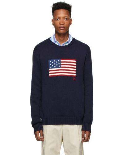 Z rękawami niebieski długi sweter z kołnierzem Polo Ralph Lauren