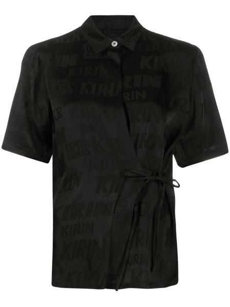 Czarna koszula krótki rękaw z wiskozy Kirin