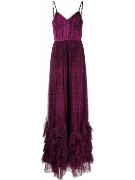 Вечернее платье с принтом - фиолетовое Marchesa Notte