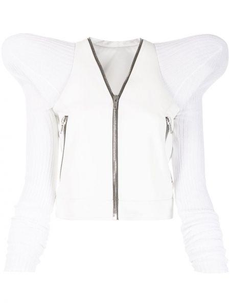 Biała długa kurtka skórzana z długimi rękawami Rick Owens