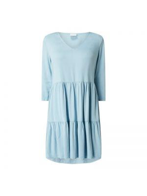 Niebieska sukienka jeansowa rozkloszowana z wiskozy Vila