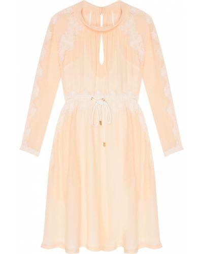 Шифоновое кружевное розовое коктейльное платье Laroom
