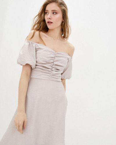 Бежевое платье с открытыми плечами 7arrows