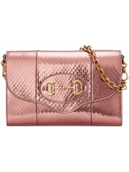Wężowa torebka - różowa Gucci