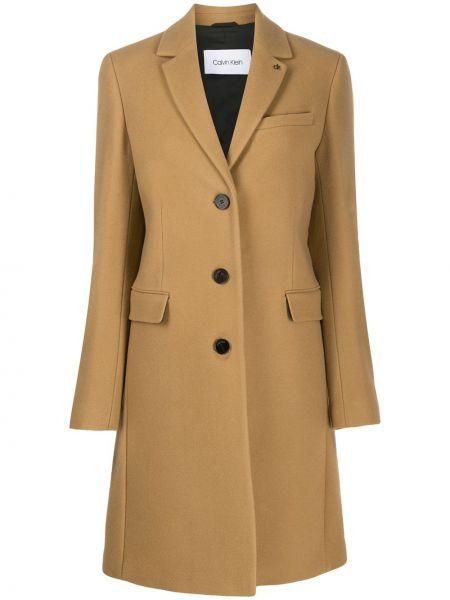 Однобортное длинное пальто с капюшоном на пуговицах Calvin Klein
