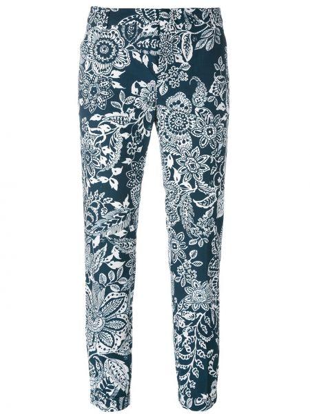 Укороченные брюки в цветочный принт белые Fay