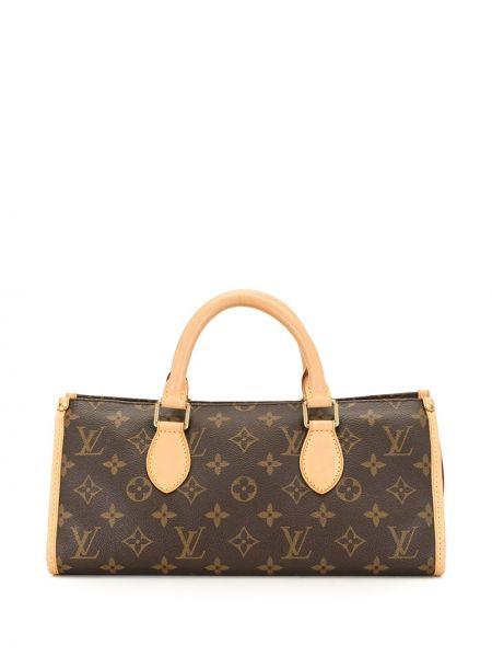 Коричневая кожаная сумка с ручками круглая Louis Vuitton
