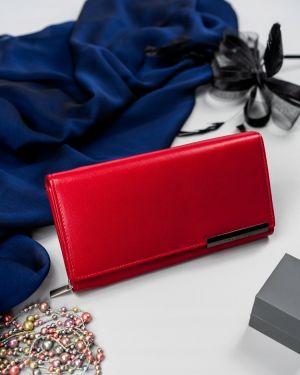 Czerwony portfel skórzany oversize Merg