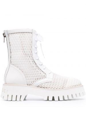 Białe ażurowe ankle boots skorzane Casadei