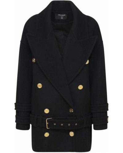 Черное кашемировое пальто Balmain