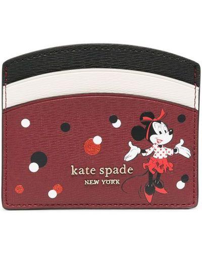 Микки маус красная золотистая визитница Kate Spade