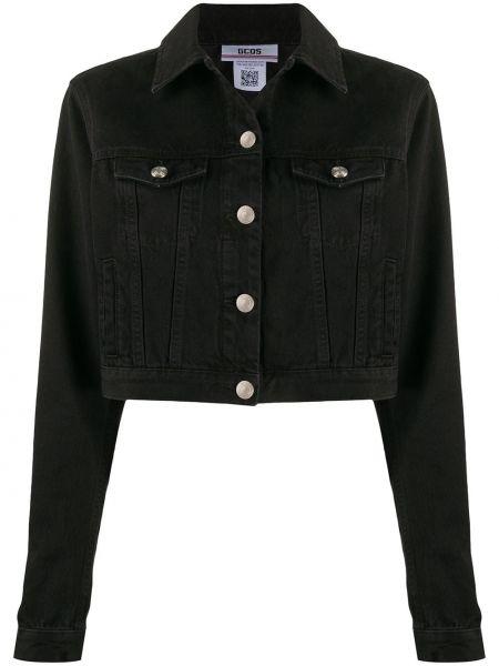 Черная джинсовая куртка с вышивкой с воротником Gcds
