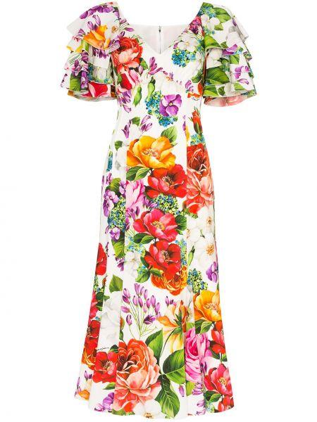 С рукавами шелковое белое платье миди Dolce & Gabbana