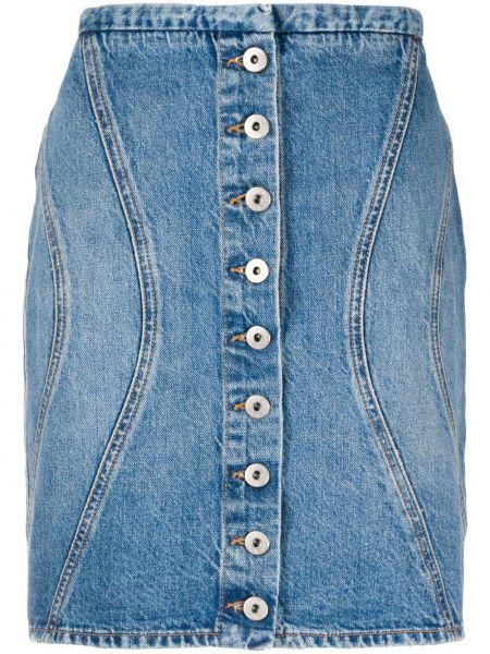 Хлопковая синяя с завышенной талией джинсовая юбка на пуговицах Marcelo Burlon. County Of Milan