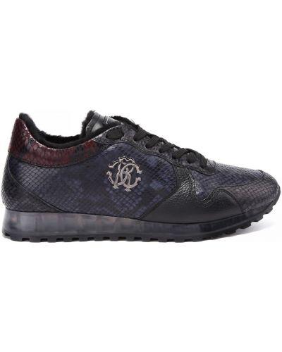 Синие кожаные кроссовки на шнуровке Roberto Cavalli