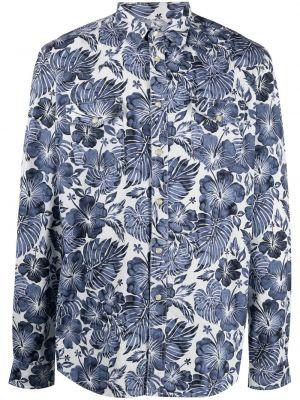 Niebieska klasyczna koszula bawełniana z długimi rękawami Hydrogen