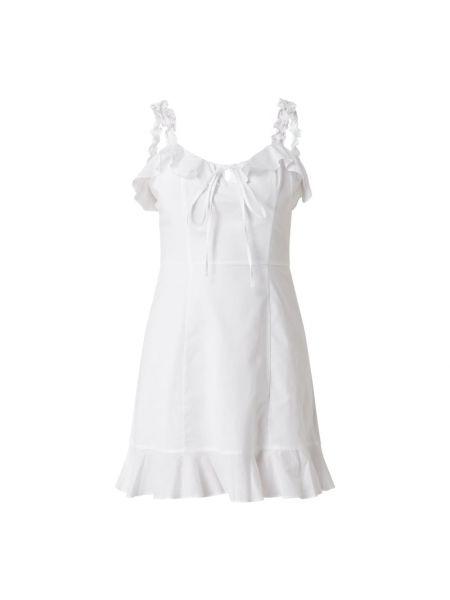 Biała sukienka rozkloszowana z falbanami Ltb