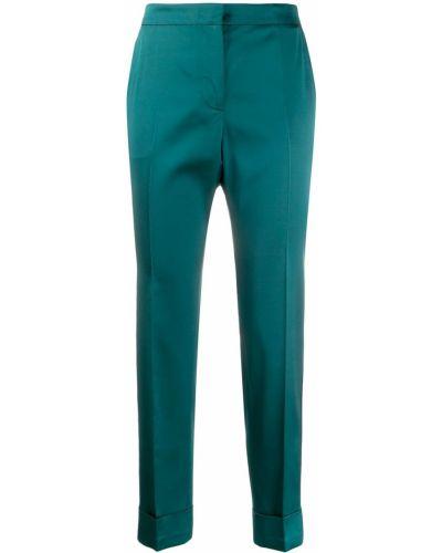 Укороченные брюки зеленый с завышенной талией Pt01