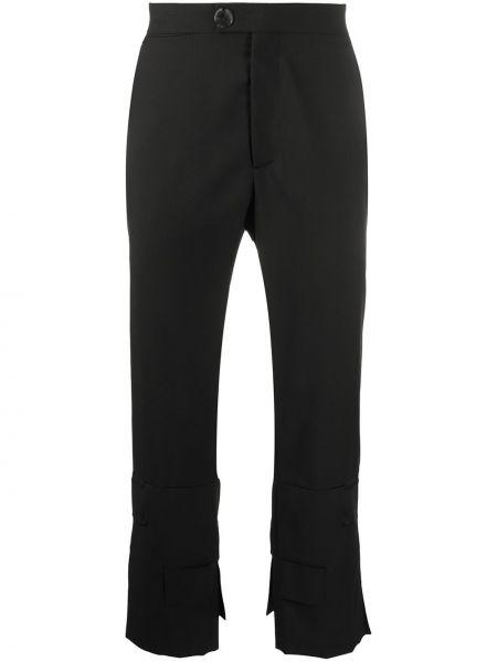 Черные прямые брюки с поясом на пуговицах новогодние Namacheko