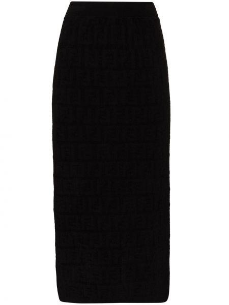 Czarny spódnica midi z wiskozy rozciągać Fendi