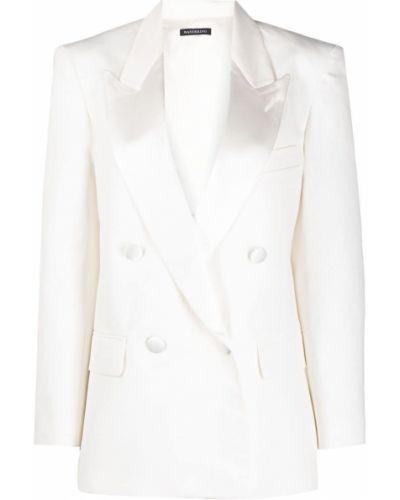 Белый удлиненный пиджак двубортный на пуговицах Wandering