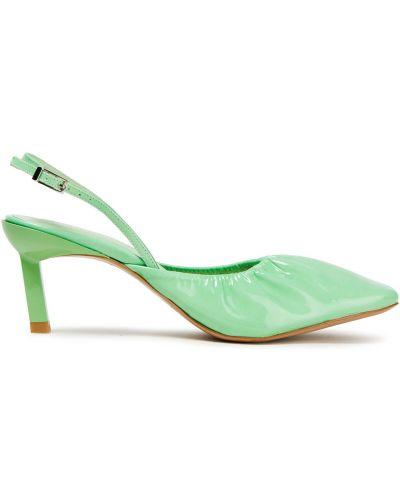 Кожаные туфли-лодочки на каблуке квадратные Ganni